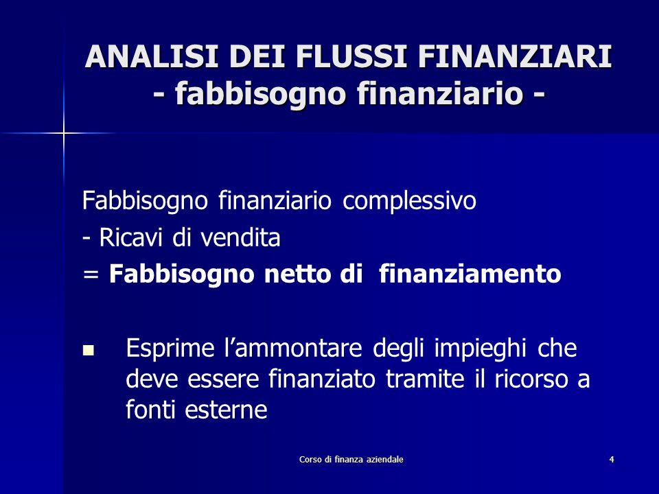 Corso di finanza aziendale4 ANALISI DEI FLUSSI FINANZIARI - fabbisogno finanziario - Fabbisogno finanziario complessivo - Ricavi di vendita = Fabbisog