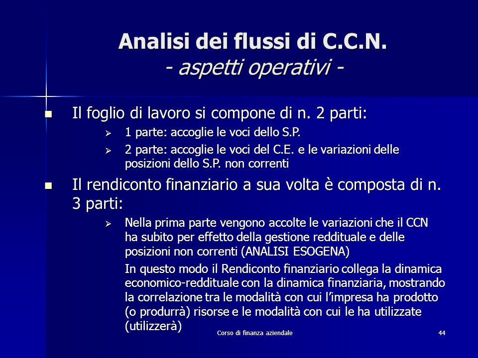 Corso di finanza aziendale44 Analisi dei flussi di C.C.N. - aspetti operativi - Il foglio di lavoro si compone di n. 2 parti: Il foglio di lavoro si c