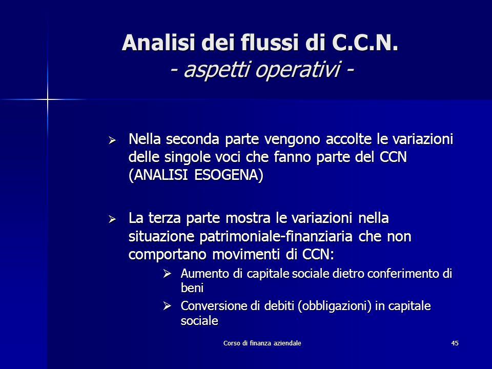 Corso di finanza aziendale45 Analisi dei flussi di C.C.N. - aspetti operativi -  Nella seconda parte vengono accolte le variazioni delle singole voci