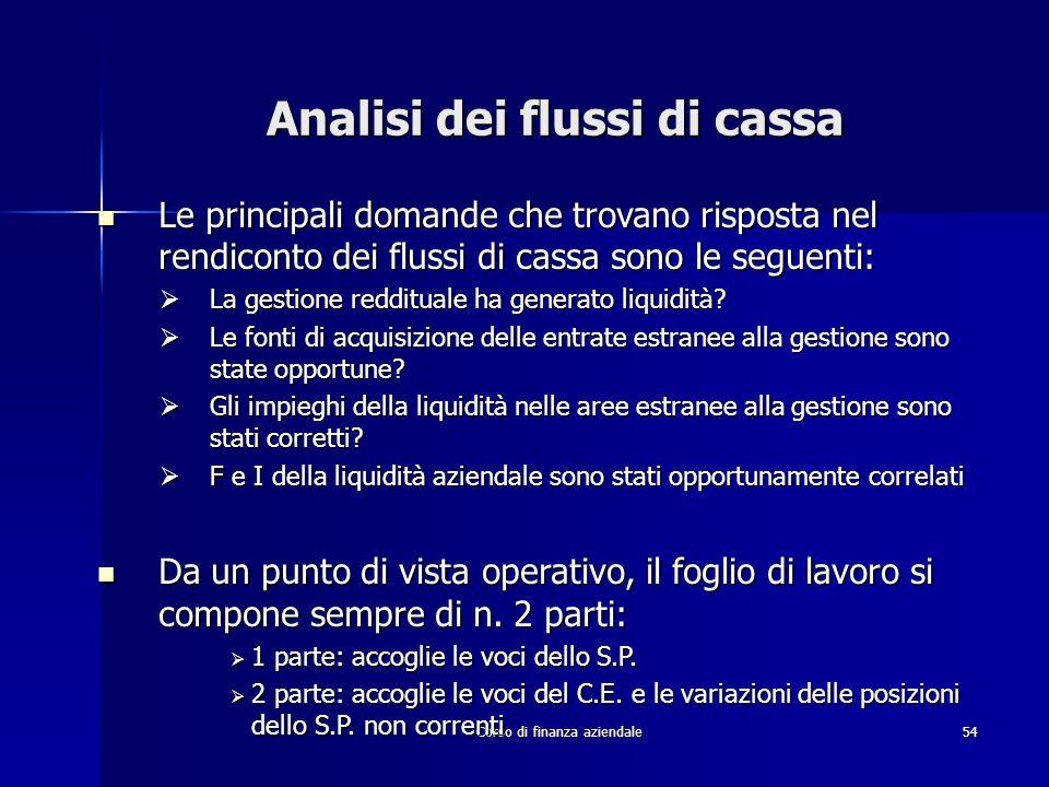 Corso di finanza aziendale54 Analisi dei flussi di cassa Le principali domande che trovano risposta nel rendiconto dei flussi di cassa sono le seguent