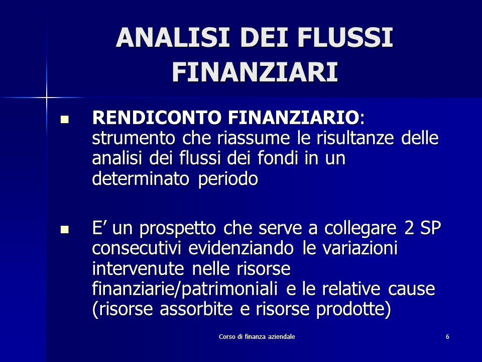 Corso di finanza aziendale6 ANALISI DEI FLUSSI FINANZIARI RENDICONTO FINANZIARIO: strumento che riassume le risultanze delle analisi dei flussi dei fo