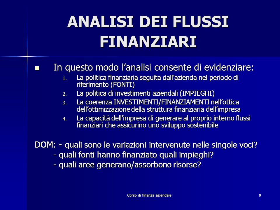 Corso di finanza aziendale9 ANALISI DEI FLUSSI FINANZIARI In questo modo l'analisi consente di evidenziare: In questo modo l'analisi consente di evide