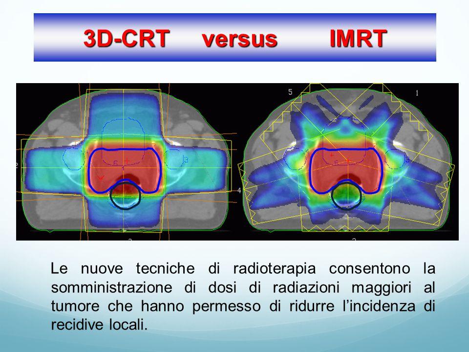 3D-CRT versus IMRT Le nuove tecniche di radioterapia consentono la somministrazione di dosi di radiazioni maggiori al tumore che hanno permesso di ridurre l'incidenza di recidive locali.