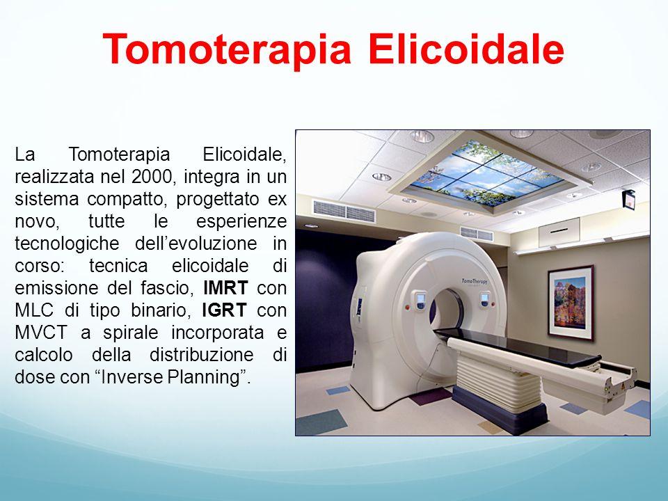 Tomoterapia Elicoidale La Tomoterapia Elicoidale, realizzata nel 2000, integra in un sistema compatto, progettato ex novo, tutte le esperienze tecnologiche dell'evoluzione in corso: tecnica elicoidale di emissione del fascio, IMRT con MLC di tipo binario, IGRT con MVCT a spirale incorporata e calcolo della distribuzione di dose con Inverse Planning .