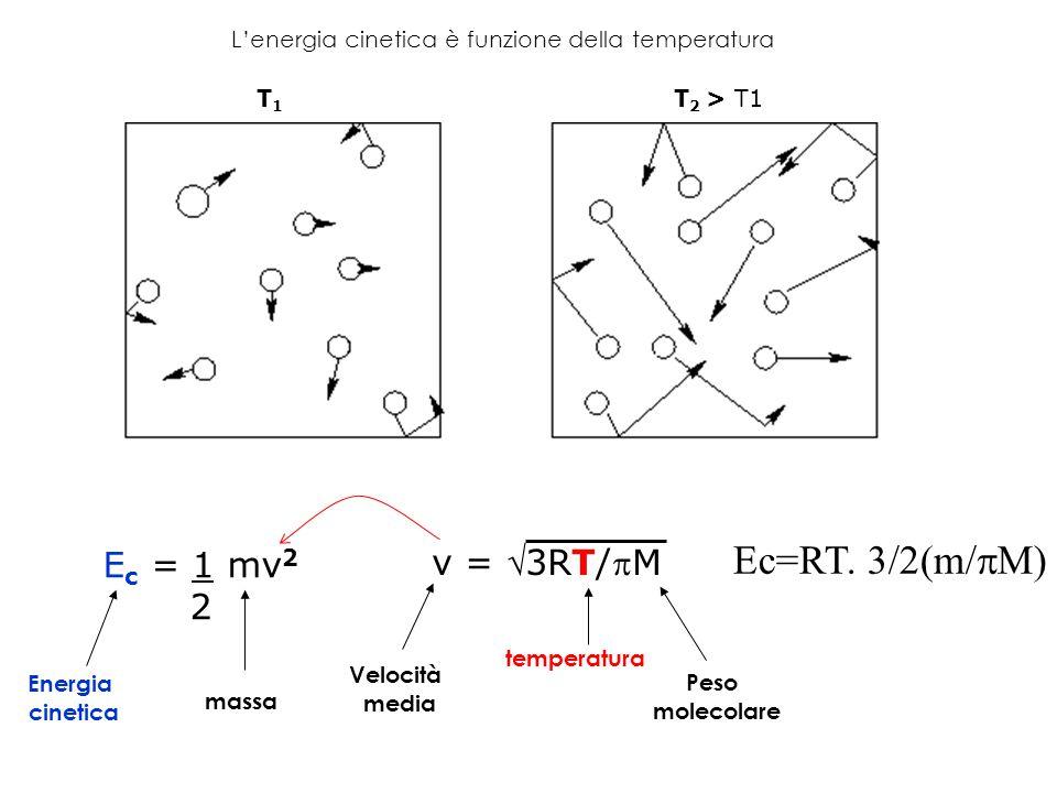 E c = 1 mv 2 2 v = 3RT/M Energia cinetica Velocità media Peso molecolare temperatura massa L'energia cinetica è funzione della temperatura T1T1 T 2