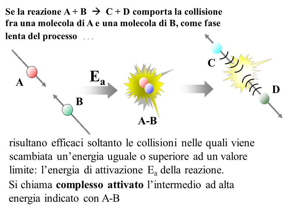 A-B A B C D risultano efficaci soltanto le collisioni nelle quali viene scambiata un'energia uguale o superiore ad un valore limite: l'energia di atti