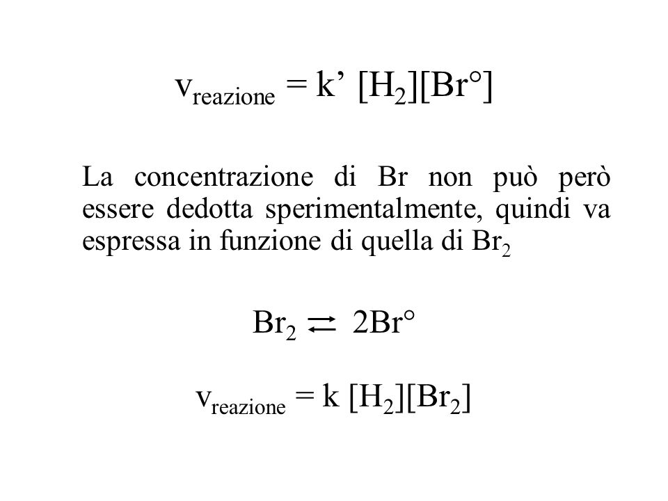 v reazione = k' [H 2 ][Br°] La concentrazione di Br non può però essere dedotta sperimentalmente, quindi va espressa in funzione di quella di Br 2 Br