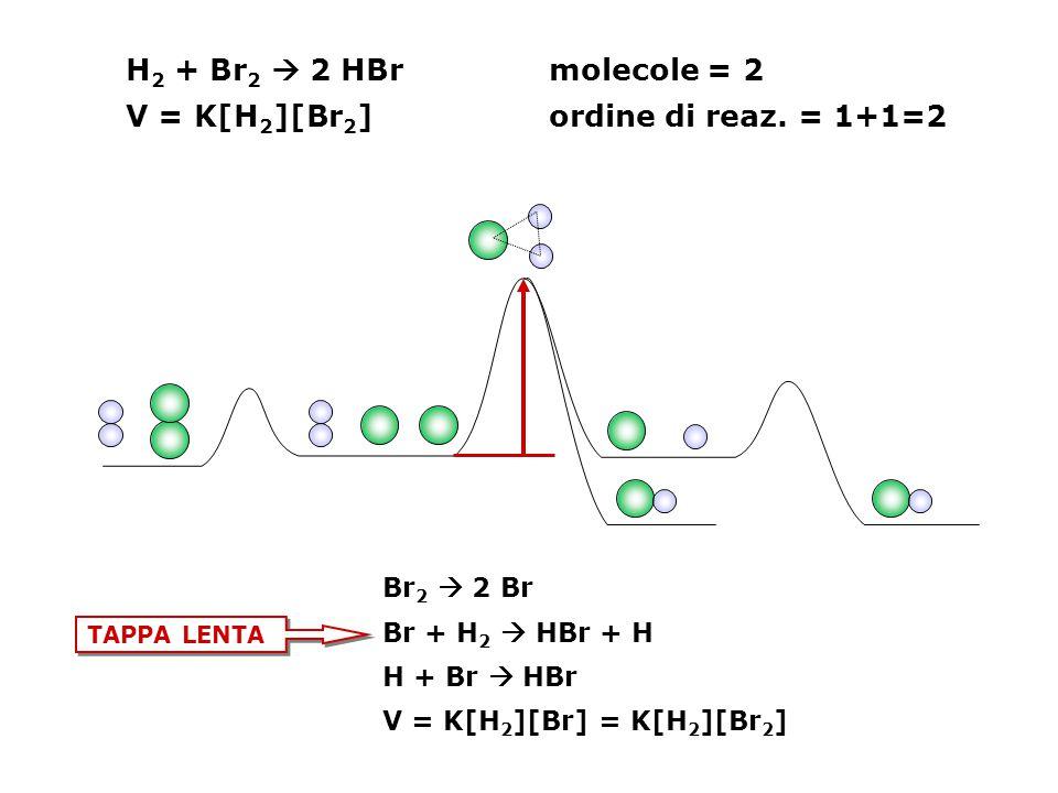 H 2 + Br 2  2 HBrmolecole = 2 V = K[H 2 ][Br 2 ] ordine di reaz. = 1+1=2 Br 2  2 Br Br + H 2  HBr + H H + Br  HBr V = K[H 2 ][Br] = K[H 2 ][Br 2 ]