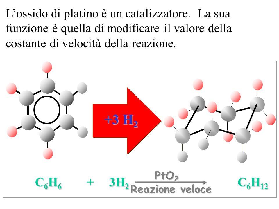 +3 H 2 C 6 H 6 + 3H 2 C 6 H 12 Reazione veloce L'ossido di platino è un catalizzatore. La sua funzione è quella di modificare il valore della costante