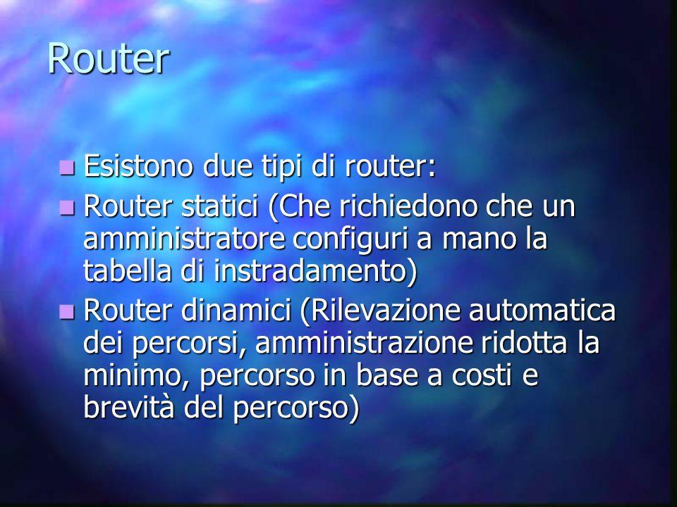 Router Esistono due tipi di router: Esistono due tipi di router: Router statici (Che richiedono che un amministratore configuri a mano la tabella di instradamento) Router statici (Che richiedono che un amministratore configuri a mano la tabella di instradamento) Router dinamici (Rilevazione automatica dei percorsi, amministrazione ridotta la minimo, percorso in base a costi e brevità del percorso) Router dinamici (Rilevazione automatica dei percorsi, amministrazione ridotta la minimo, percorso in base a costi e brevità del percorso)