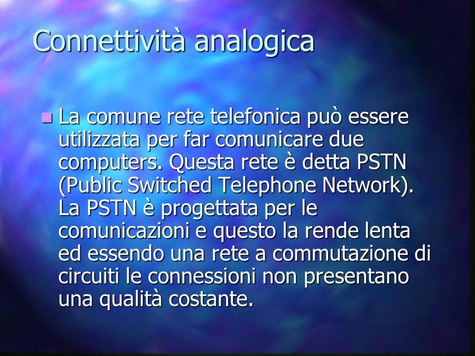 Connettività analogica La comune rete telefonica può essere utilizzata per far comunicare due computers.