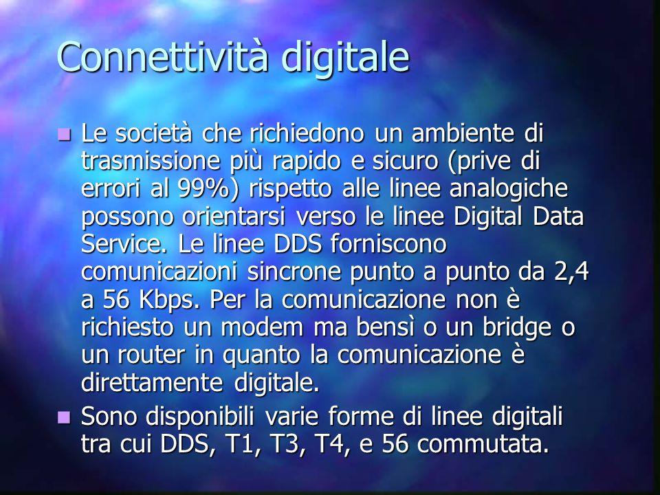 Connettività digitale Le società che richiedono un ambiente di trasmissione più rapido e sicuro (prive di errori al 99%) rispetto alle linee analogiche possono orientarsi verso le linee Digital Data Service.
