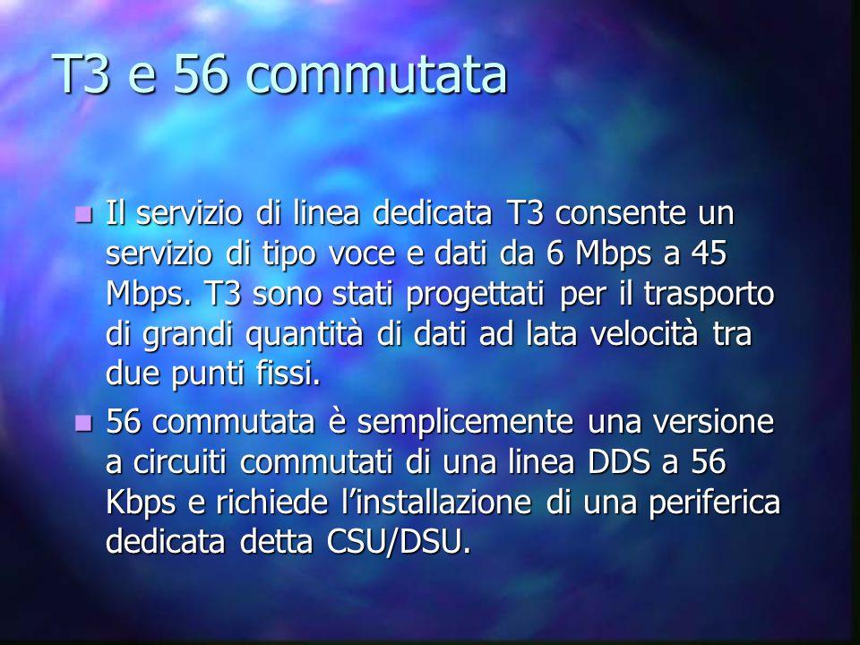 T3 e 56 commutata Il servizio di linea dedicata T3 consente un servizio di tipo voce e dati da 6 Mbps a 45 Mbps.