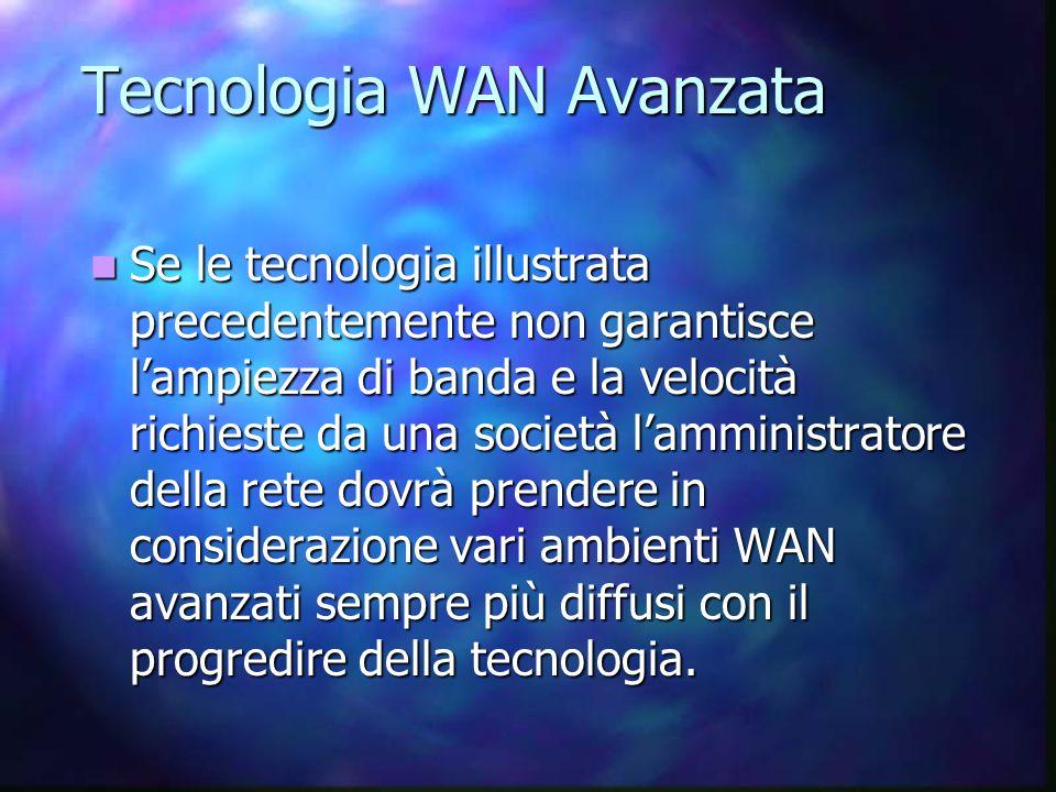 Tecnologia WAN Avanzata Se le tecnologia illustrata precedentemente non garantisce l'ampiezza di banda e la velocità richieste da una società l'amministratore della rete dovrà prendere in considerazione vari ambienti WAN avanzati sempre più diffusi con il progredire della tecnologia.
