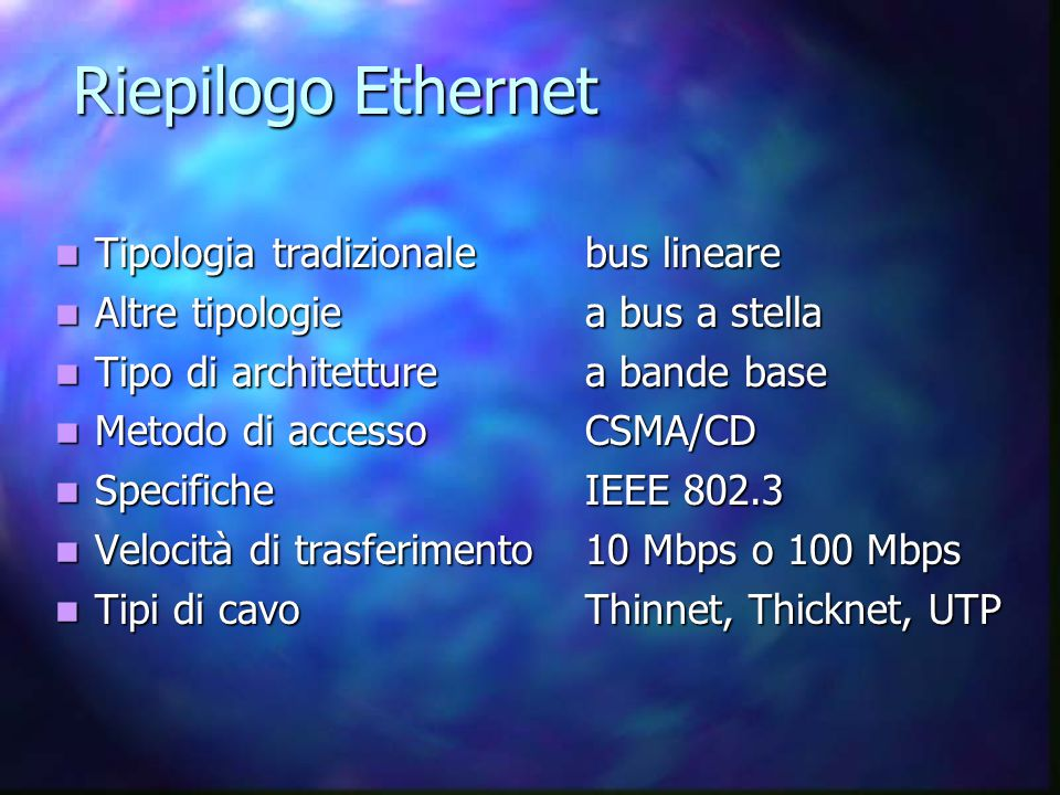 Componenti hardware L'hub che ospita l'anello viene detto: MAU, MSAU, SMAU.