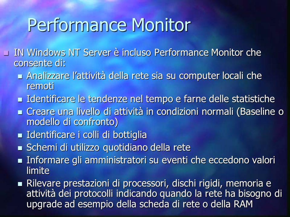 Performance Monitor IN Windows NT Server è incluso Performance Monitor che consente di: IN Windows NT Server è incluso Performance Monitor che consente di: Analizzare l'attività della rete sia su computer locali che remoti Analizzare l'attività della rete sia su computer locali che remoti Identificare le tendenze nel tempo e farne delle statistiche Identificare le tendenze nel tempo e farne delle statistiche Creare una livello di attività in condizioni normali (Baseline o modello di confronto) Creare una livello di attività in condizioni normali (Baseline o modello di confronto) Identificare i colli di bottiglia Identificare i colli di bottiglia Schemi di utilizzo quotidiano della rete Schemi di utilizzo quotidiano della rete Informare gli amministratori su eventi che eccedono valori limite Informare gli amministratori su eventi che eccedono valori limite Rilevare prestazioni di processori, dischi rigidi, memoria e attività dei protocolli indicando quando la rete ha bisogno di upgrade ad esempio della scheda di rete o della RAM Rilevare prestazioni di processori, dischi rigidi, memoria e attività dei protocolli indicando quando la rete ha bisogno di upgrade ad esempio della scheda di rete o della RAM