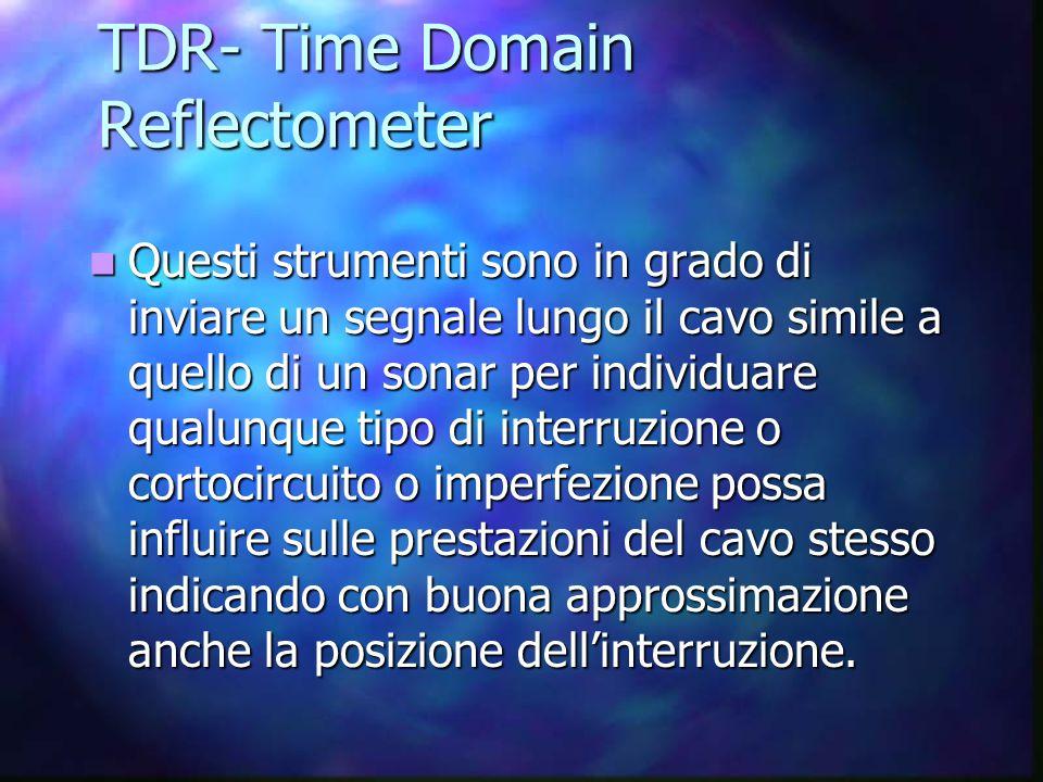 TDR- Time Domain Reflectometer Questi strumenti sono in grado di inviare un segnale lungo il cavo simile a quello di un sonar per individuare qualunque tipo di interruzione o cortocircuito o imperfezione possa influire sulle prestazioni del cavo stesso indicando con buona approssimazione anche la posizione dell'interruzione.