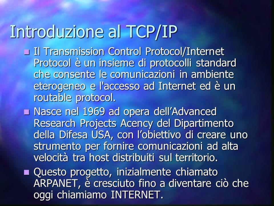 Il Transmission Control Protocol/Internet Protocol è un insieme di protocolli standard che consente le comunicazioni in ambiente eterogeneo e l accesso ad Internet ed è un routable protocol.
