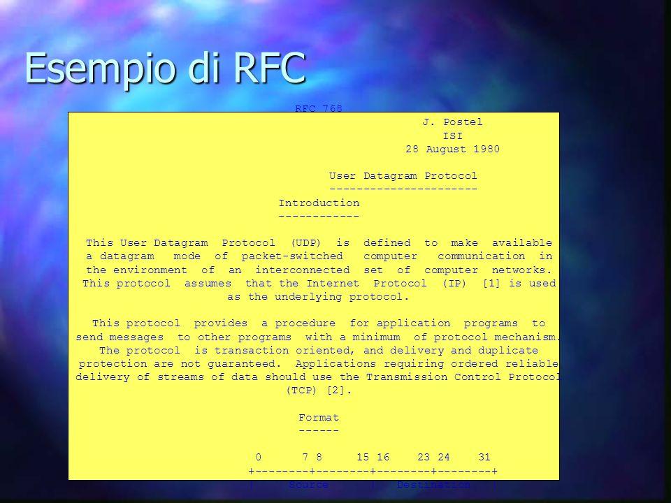 Esempio di RFC RFC 768 J.