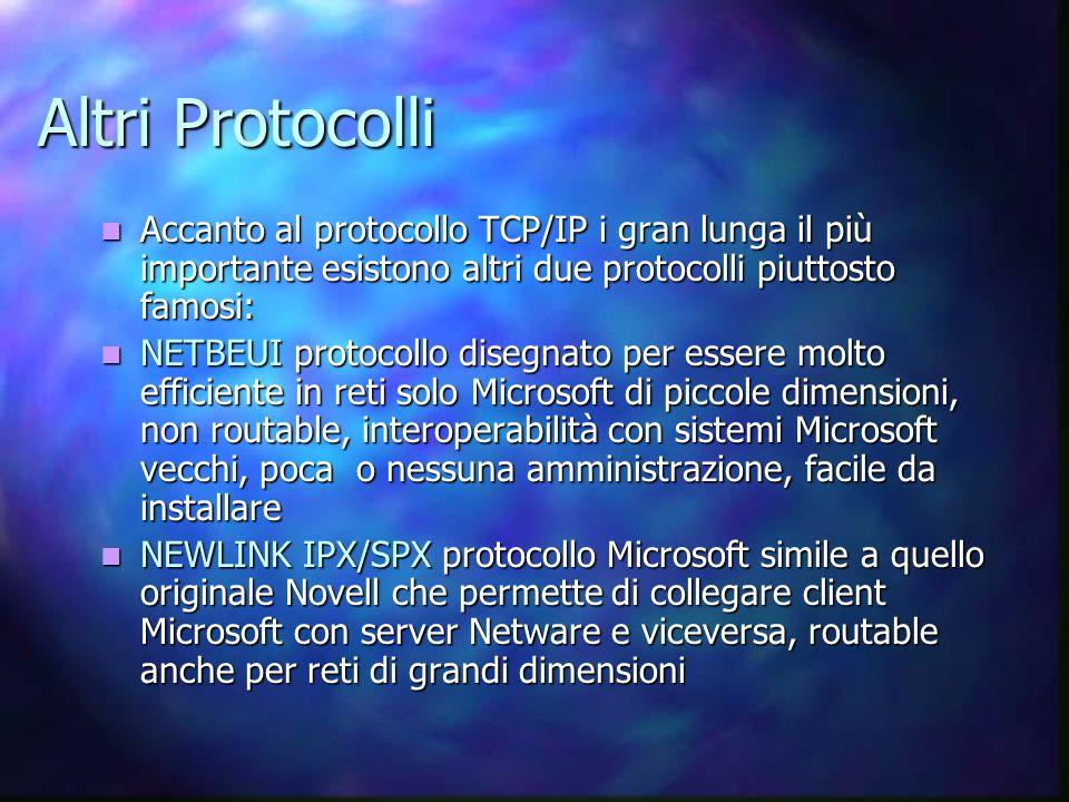 Altri Protocolli Accanto al protocollo TCP/IP i gran lunga il più importante esistono altri due protocolli piuttosto famosi: Accanto al protocollo TCP/IP i gran lunga il più importante esistono altri due protocolli piuttosto famosi: NETBEUI protocollo disegnato per essere molto efficiente in reti solo Microsoft di piccole dimensioni, non routable, interoperabilità con sistemi Microsoft vecchi, poca o nessuna amministrazione, facile da installare NETBEUI protocollo disegnato per essere molto efficiente in reti solo Microsoft di piccole dimensioni, non routable, interoperabilità con sistemi Microsoft vecchi, poca o nessuna amministrazione, facile da installare NEWLINK IPX/SPX protocollo Microsoft simile a quello originale Novell che permette di collegare client Microsoft con server Netware e viceversa, routable anche per reti di grandi dimensioni NEWLINK IPX/SPX protocollo Microsoft simile a quello originale Novell che permette di collegare client Microsoft con server Netware e viceversa, routable anche per reti di grandi dimensioni