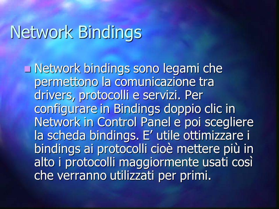 Network Bindings Network bindings sono legami che permettono la comunicazione tra drivers, protocolli e servizi.