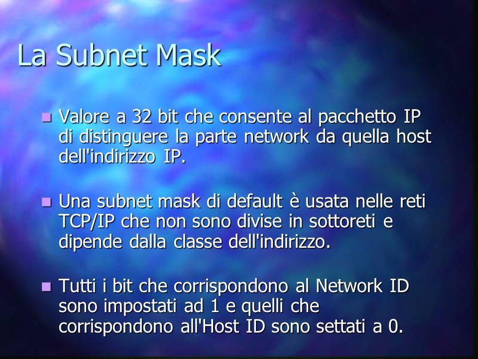 La Subnet Mask Valore a 32 bit che consente al pacchetto IP di distinguere la parte network da quella host dell indirizzo IP.