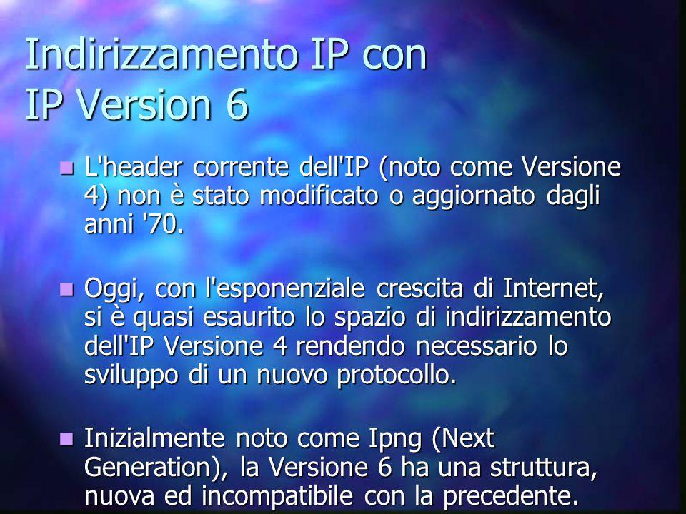 Indirizzamento IP con IP Version 6 L header corrente dell IP (noto come Versione 4) non è stato modificato o aggiornato dagli anni 70.