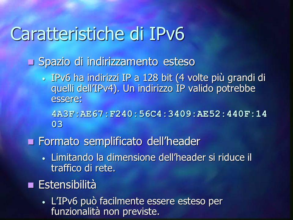 Caratteristiche di IPv6 Spazio di indirizzamento esteso Spazio di indirizzamento esteso IPv6 ha indirizzi IP a 128 bit (4 volte più grandi di quelli dell'IPv4).