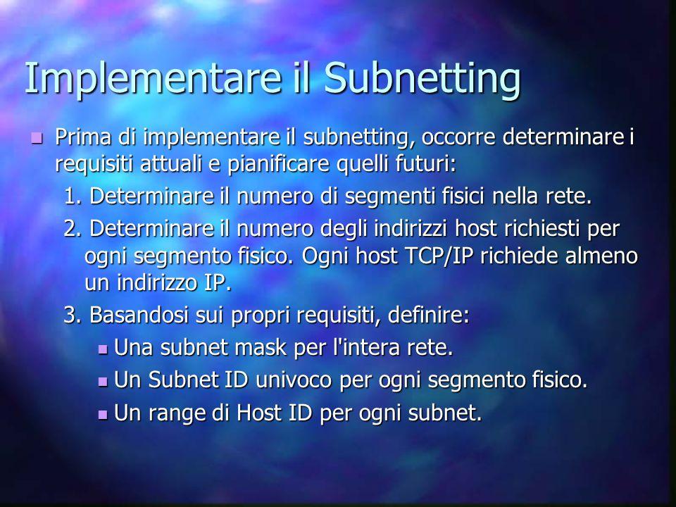 Implementare il Subnetting Prima di implementare il subnetting, occorre determinare i requisiti attuali e pianificare quelli futuri: Prima di implementare il subnetting, occorre determinare i requisiti attuali e pianificare quelli futuri: 1.