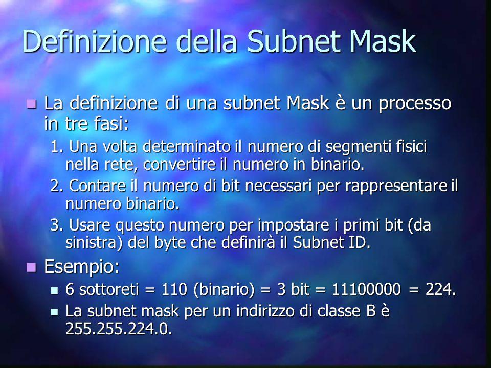 Definizione della Subnet Mask La definizione di una subnet Mask è un processo in tre fasi: La definizione di una subnet Mask è un processo in tre fasi: 1.