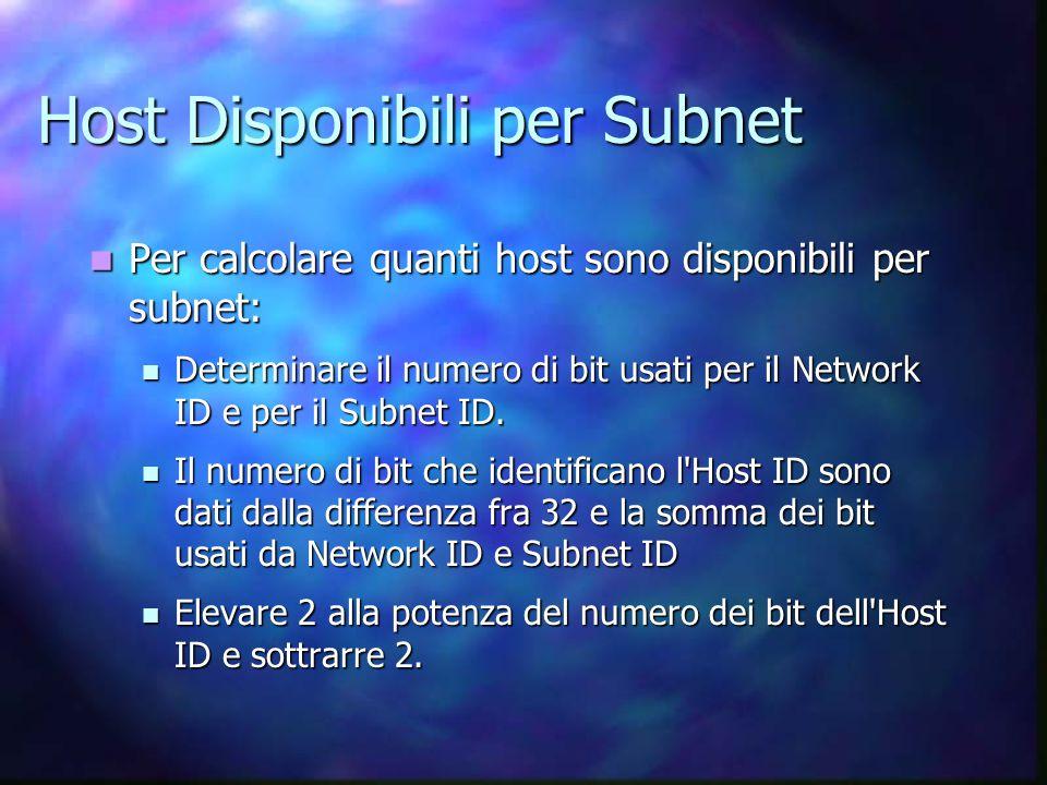 Host Disponibili per Subnet Per calcolare quanti host sono disponibili per subnet: Per calcolare quanti host sono disponibili per subnet: Determinare il numero di bit usati per il Network ID e per il Subnet ID.