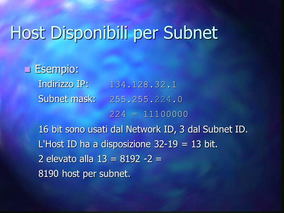 Host Disponibili per Subnet Esempio: Esempio: Indirizzo IP: 134.128.32.1 Subnet mask: 255.255.224.0 224 = 11100000 16 bit sono usati dal Network ID, 3 dal Subnet ID.
