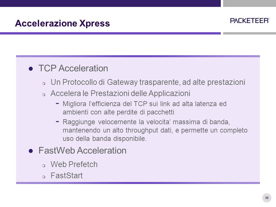 36 Accelerazione Xpress TCP Acceleration  Un Protocollo di Gateway trasparente, ad alte prestazioni  Accelera le Prestazioni delle Applicazioni - Migliora l'efficienza del TCP sui link ad alta latenza ed ambienti con alte perdite di pacchetti - Raggiunge velocemente la velocita' massima di banda, mantenendo un alto throughput dati, e permette un completo uso della banda disponibile.