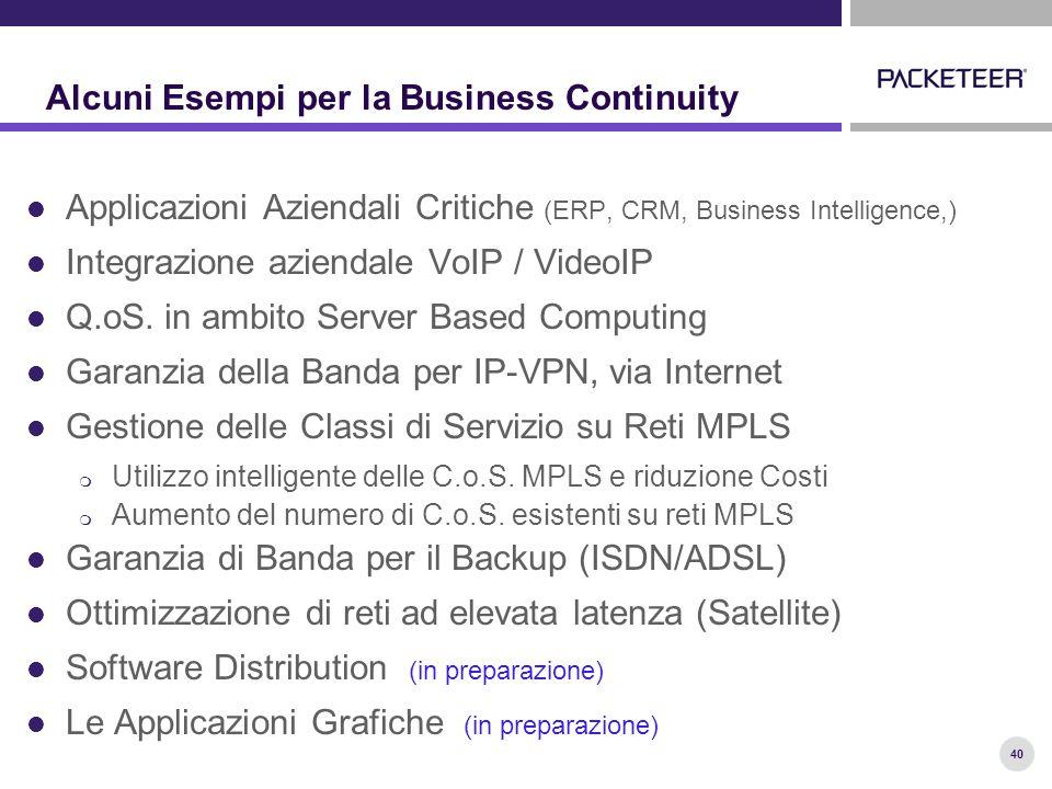 40 Alcuni Esempi per la Business Continuity Applicazioni Aziendali Critiche (ERP, CRM, Business Intelligence,) Integrazione aziendale VoIP / VideoIP Q.oS.