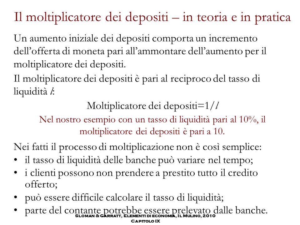 Il moltiplicatore dei depositi – in teoria e in pratica Un aumento iniziale dei depositi comporta un incremento dell'offerta di moneta pari all'ammont