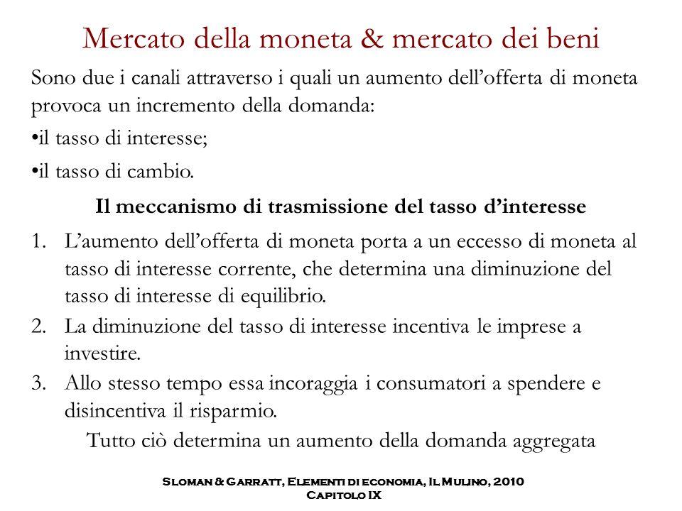 Mercato della moneta & mercato dei beni Sono due i canali attraverso i quali un aumento dell'offerta di moneta provoca un incremento della domanda: il