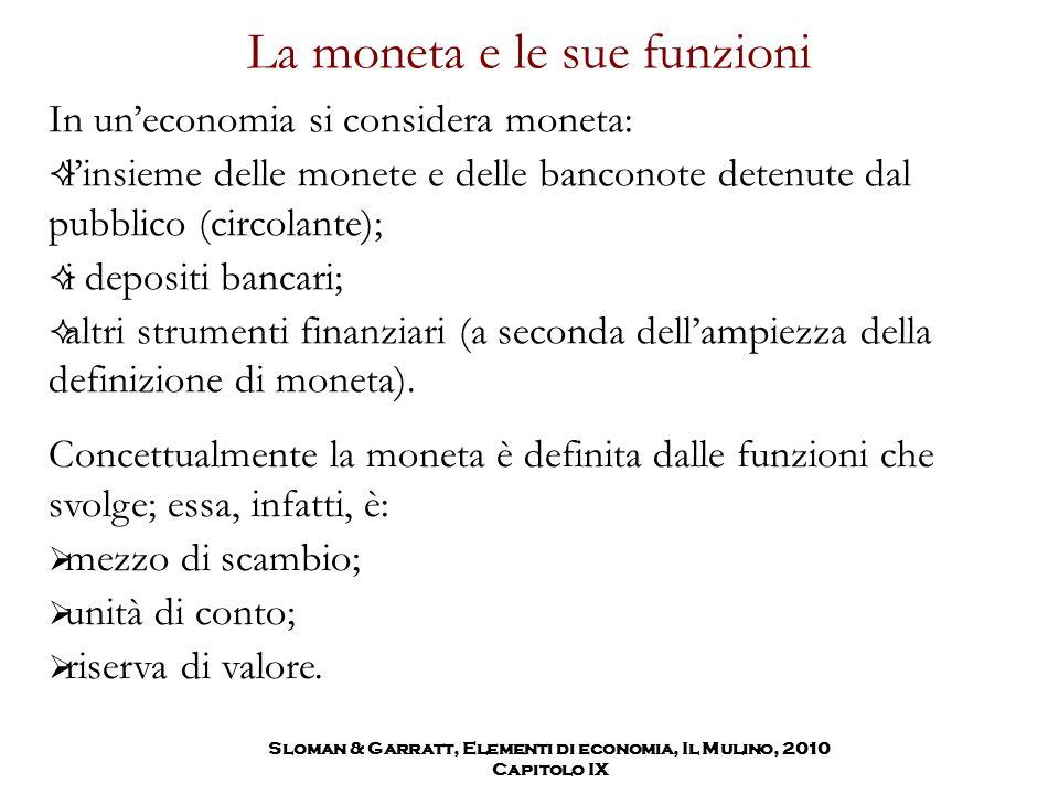 Sloman & Garratt, Elementi di economia, Il Mulino, 2010 Capitolo IX La moneta e le sue funzioni In un'economia si considera moneta:  l'insieme delle