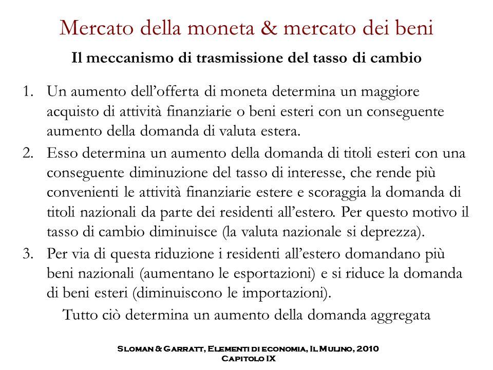 Mercato della moneta & mercato dei beni 1.Un aumento dell'offerta di moneta determina un maggiore acquisto di attività finanziarie o beni esteri con u