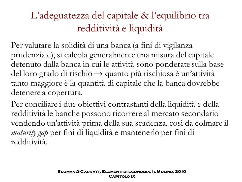 L'adeguatezza del capitale & l'equilibrio tra redditività e liquidità Per valutare la solidità di una banca (a fini di vigilanza prudenziale), si calc