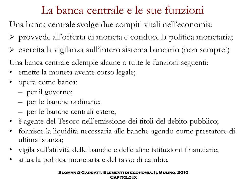 La banca centrale e le sue funzioni Una banca centrale svolge due compiti vitali nell'economia:  provvede all'offerta di moneta e conduce la politica