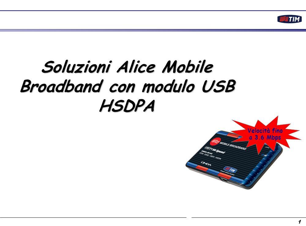 1 Soluzioni Alice Mobile Broadband con modulo USB HSDPA Velocità fino a 3.6 Mbps