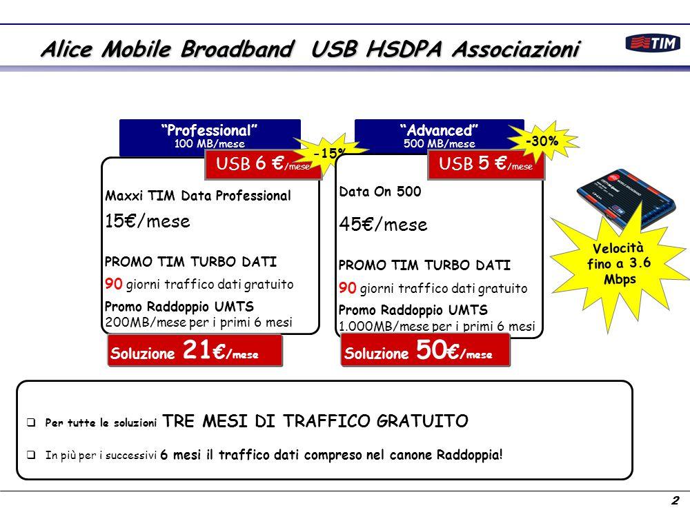 3 Promo Prova TIM Turbo Traffico dati Illimitato gratuito Come funzionano le promozioni TIM Turbo Dati e Raddoppia con l'UMTS Raddoppio UMTS 1.000 MB/mese per 6 mesi Opzione standard a regime 500 MB/mese Attivazione dell'offerta Attivazione promo TIM Turbo Dati 90 giorni Nessun canone Dati Rata USB: 5 €/mese 6 mesi canone Dati: 45 €/mese Rata USB: 5 €/mese 15 mesi canone Dati: 45 €/mese Rata USB: 5 €/mese Attivazione Promo Raddoppio UMTS Attivazione Data On 500 Ad esempio nel caso di sottoscrizione dell'offerta 'Advanced' Alice Mobile Broadband USB HSDPA Associazioni