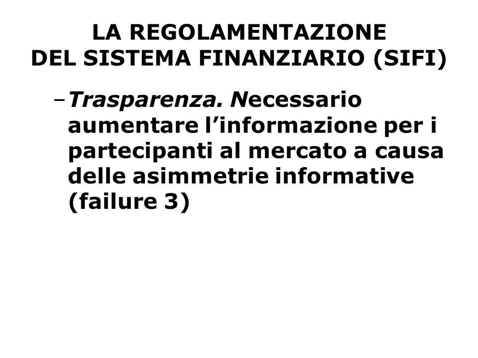 LA REGOLAMENTAZIONE DEL SISTEMA FINANZIARIO (SIFI) –Trasparenza. Necessario aumentare l'informazione per i partecipanti al mercato a causa delle asimm