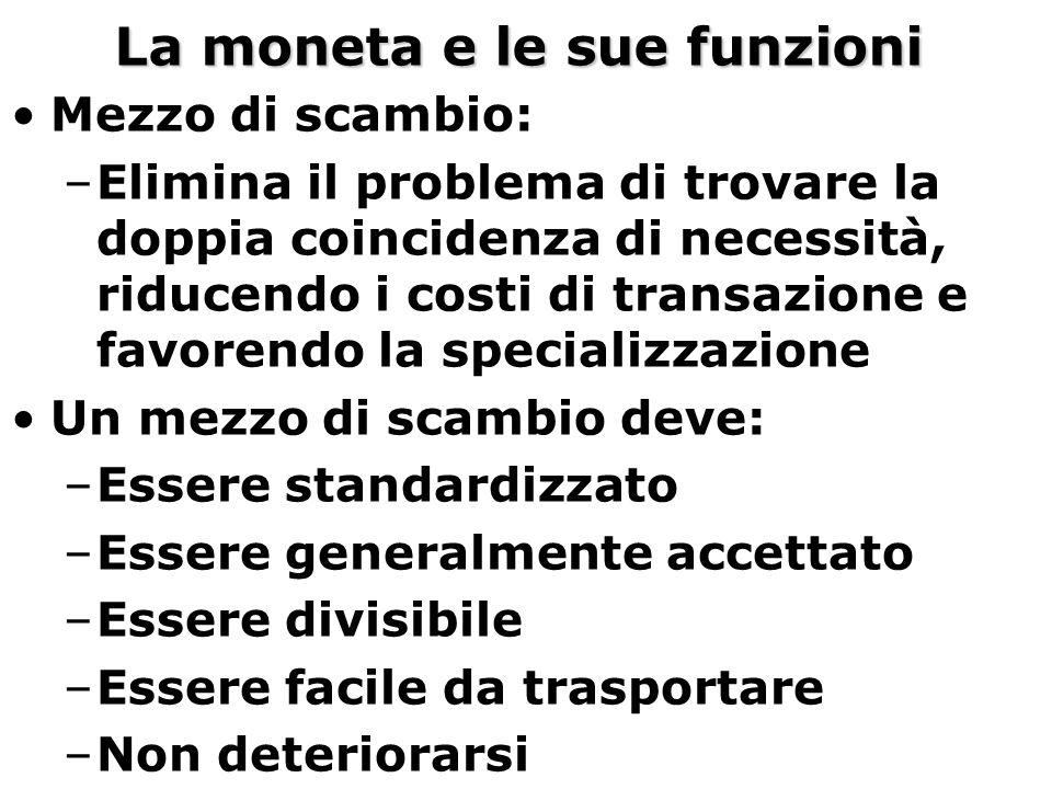 La moneta e le sue funzioni Mezzo di scambio: –Elimina il problema di trovare la doppia coincidenza di necessità, riducendo i costi di transazione e f
