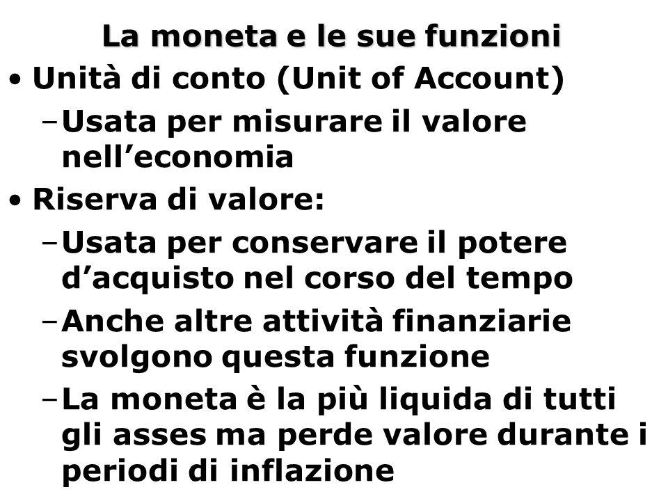 La moneta e le sue funzioni Unità di conto (Unit of Account) –Usata per misurare il valore nell'economia Riserva di valore: –Usata per conservare il p