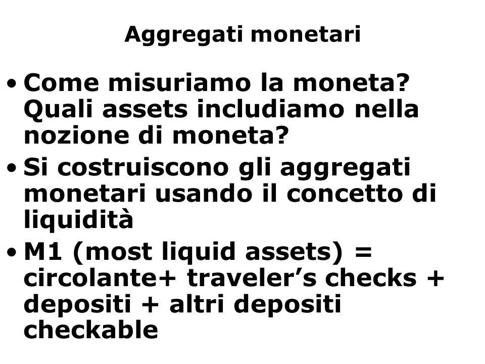 Aggregati monetari Come misuriamo la moneta? Quali assets includiamo nella nozione di moneta? Si costruiscono gli aggregati monetari usando il concett