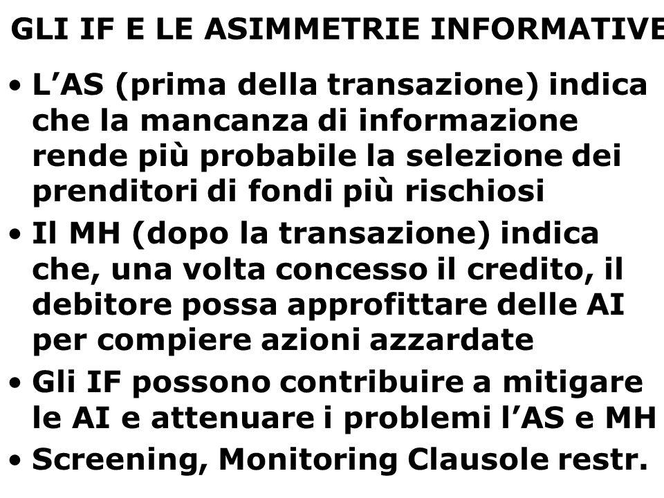 GLI IF E LE ASIMMETRIE INFORMATIVE L'AS (prima della transazione) indica che la mancanza di informazione rende più probabile la selezione dei prendito