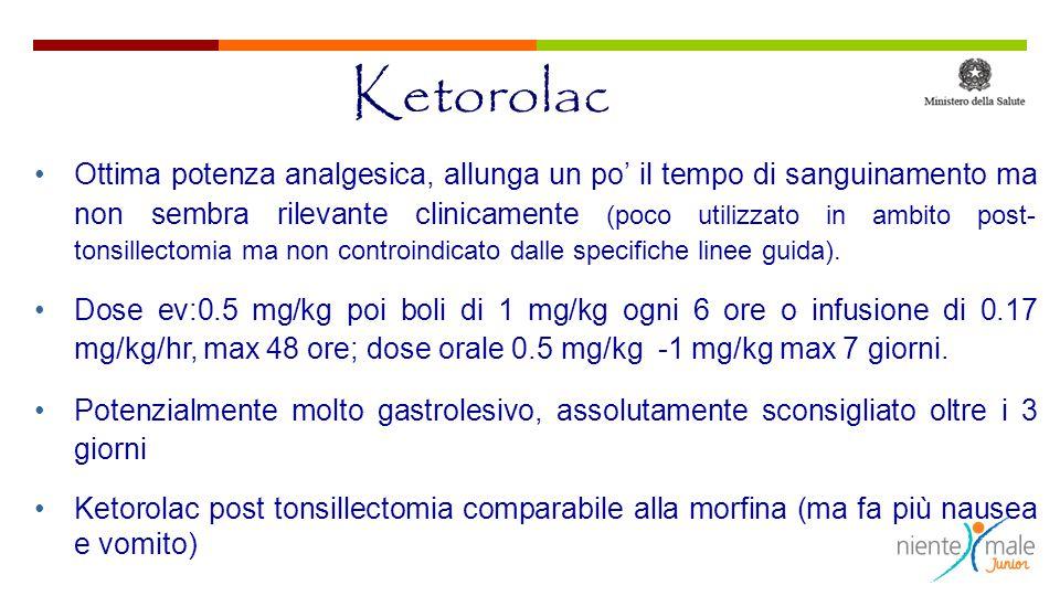 Ketorolac Ottima potenza analgesica, allunga un po' il tempo di sanguinamento ma non sembra rilevante clinicamente (poco utilizzato in ambito post- tonsillectomia ma non controindicato dalle specifiche linee guida).