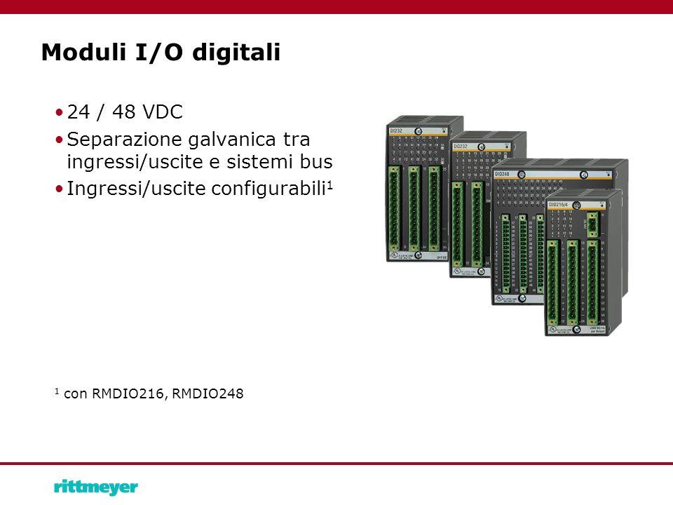Moduli I/O digitali 24 / 48 VDC Separazione galvanica tra ingressi/uscite e sistemi bus Ingressi/uscite configurabili 1 1 con RMDIO216, RMDIO248