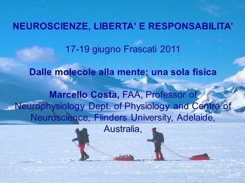 NEUROSCIENZE, LIBERTA E RESPONSABILITA' 17-19 giugno Frascati 2011 Dalle molecole alla mente; una sola fisica Marcello Costa, FAA, Professor of Neurophysiology Dept.